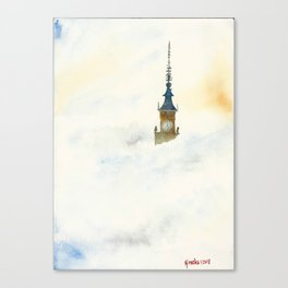 Palace of Culture in clouds Warsaw Canvas Print