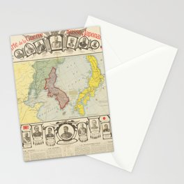 Vintage Map Print - 1904 French map of the Russo-Japanese War Stationery Cards