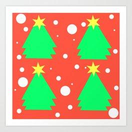 Christmas tree on red Art Print