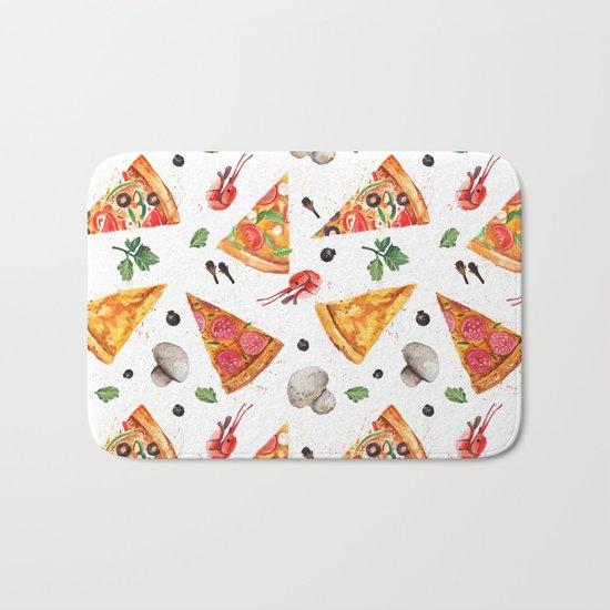 Pizza Pattern, Food Pattern, Watercolor Pizza Bath Mat