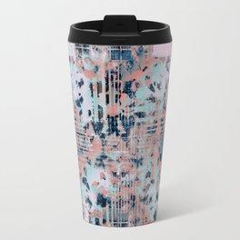 Pink and Blue Modern Geometric and Animal Print Pattern Travel Mug