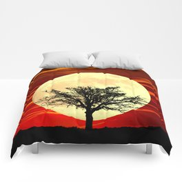 Contemporary Tree Full Moon Red Sky Decor Art A484 Comforters