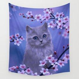 Spring kitten Wall Tapestry