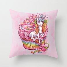 Unicorn in my cupcake Throw Pillow