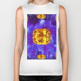Golden Topaz Gems & Amethyst-Ultra-Violet Purple Color Biker Tank
