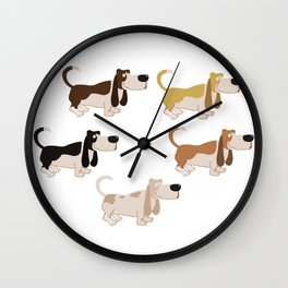 Basset Hound Colors Illustration Wall Clock