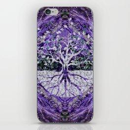 Silver Tree of Life Yggdrasil on Amethyst Geode iPhone Skin