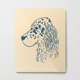 English Setter (Beige and Navy) Metal Print