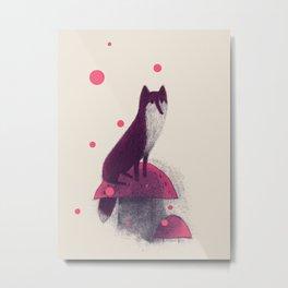 Little Fox and Mushrooms Metal Print