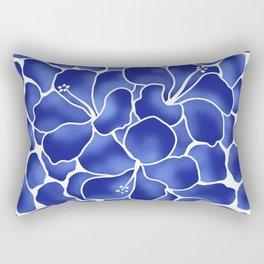 Hibiscus Animal: China Blue Rectangular Pillow