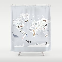 Animal Map of the world Shower Curtain