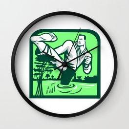Martial Arts Fighter Kicking Cypress Tree Retro Wall Clock