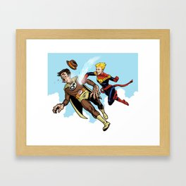 Superhero defeats the Groper Framed Art Print