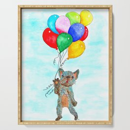 French Bulldog with Balloons Serving Tray