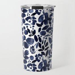 Navy Floral - medium Travel Mug