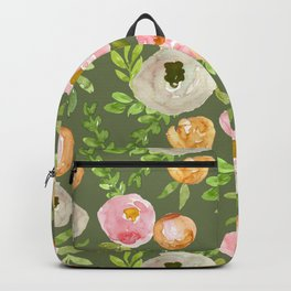 Rustic Floral on Green Backpack