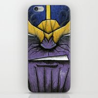 thanos iPhone & iPod Skins featuring The Mad Titan by chris panila
