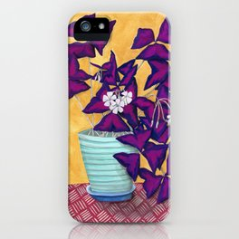 Purple Shamrock Houseplant Painting iPhone Case