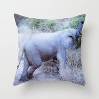baby elephant Throw Pillows featuring Baby Elephant by Mary Grace