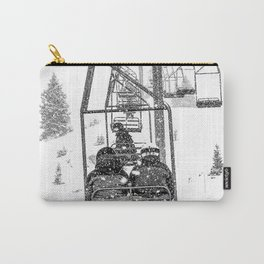 Snow Lift // Ski Chair Lift Colorado Mountains Black and White Snowboarding Vibes Photography Carry-All Pouch