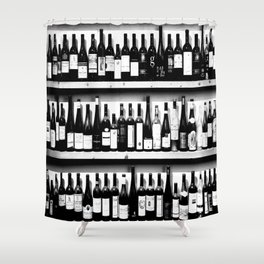 Wine Bottles in Black And White #decor #society6 #buyart Shower Curtain