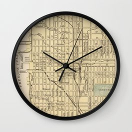 Vintage Map of Erie PA (1890) Wall Clock