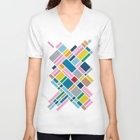 karu kara V-neck T-shirts featuring Map Outline 45  by Project M