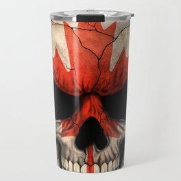 Dark Skull with Flag of Canada Travel Mug