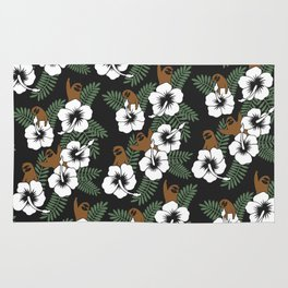 Sloth and Hibiscus Flowers Rug