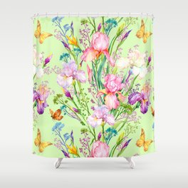 Pastel Pink & Lilac Iris Floral Pattern With Butterflies Shower Curtain