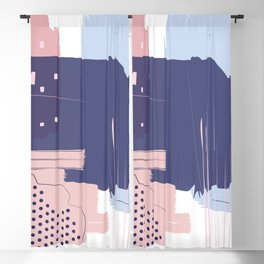Blush Purple Blue Pink Decorative Abstract painting -1, Colour Symphony abstraction, Blackout Curtain