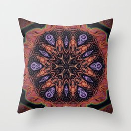 Fire Within // Vibrant Geometric Abstract Visionary Art Digital Painted Magical Red Orange Throw Pillow