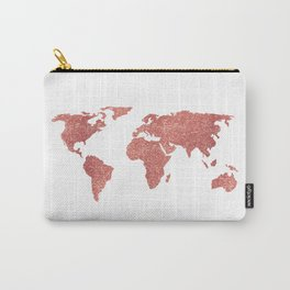 World Map Rose Gold Glitter Carry-All Pouch