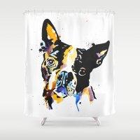 boston terrier Shower Curtains featuring boston terrier by Smolder Design