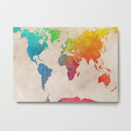 world map 21 #map #maps #world Metal Print