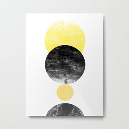 Geller - modern minimal abstract painting white and black gold foil glitter sparkle hipster trendy  Metal Print