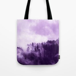Clear away the fog to see the light. Purple Tote Bag