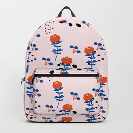 Geometrical abstract pink orange navy blue polka dots floral Backpack