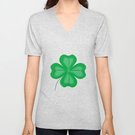 Lucky Four Leaf Shamrock Unisex V-Neck