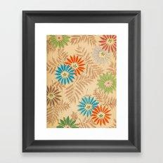 Japanese Vintage Flowers Pattern Framed Art Print
