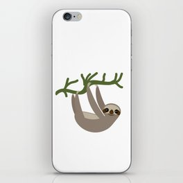 cute Three-toed sloths on green branch iPhone Skin