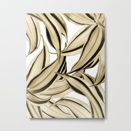 Dracaena Tropical Leaves Pattern Gold Black #1 #tropical #decor #art #society6 Metal Print