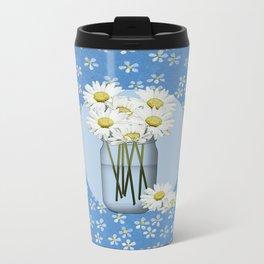 White Daisies Metal Travel Mug
