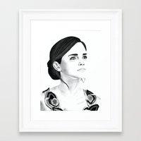 emma watson Framed Art Prints featuring Emma Watson by Moira Sweeney