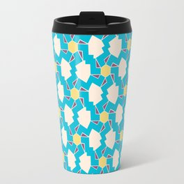 Digital Geometric Motif blue palette Travel Mug