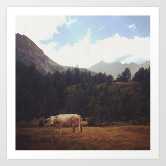 Lonely cow Art Print
