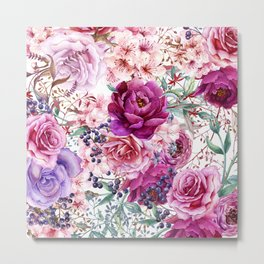 Roses and Peonies Collage Metal Print