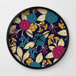 Turquoise, Magenta, Mustard Yellow, Navy Blue & Cream Floral Pattern Wall Clock