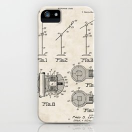 Microphone Stand Vintage Patent Hand Drawing iPhone Case
