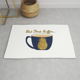 Gold Foil Pineapple Coffee Cup Design Rug